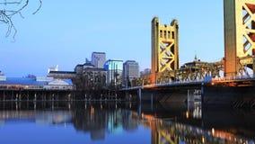 Timelapse Night to day of the Tower Bridge, Sacramento 4K stock footage