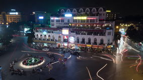 Timelapse of night traffic on the square in Hanoi, Vietnam stock video footage