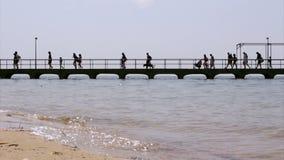 Timelapse no passeio do porto da ilha de Culatra No Algarve portugal Fotos de Stock Royalty Free