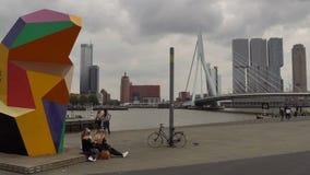 Timelapse nuageux de pont de Broadway et de paysage urbain et d'Erasmus de Rotterdam au-dessus de Nieuwe Maas Rotterdam, Hollande banque de vidéos