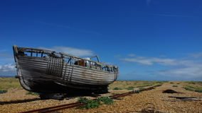 Timelapse old fishing boat cloudy sky Royalty Free Stock Photos