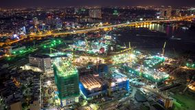 Timelapse the operation of a night construction. HOCHIMINH CITY, VIETNAM - Jun 03, 2016: Timelapse the operation of a night construction stock footage