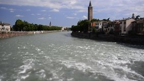 Timelapse over Adige River in Verona, Italy stock video