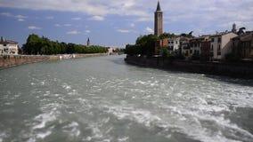 Timelapse over Adige River in Verona, Italy stock video