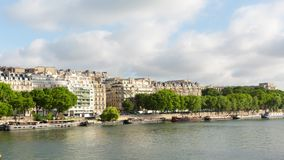 Timelapse over ryhe Seine river, Paris. Near the pont de Bir Hakeim bridge stock video footage