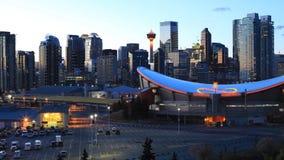 Timelapse pannadag till natten av Calgaryen, Alberta centrum 4K stock video