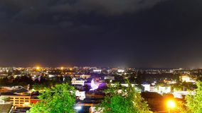Timelapse with Panoramic summer view of the city of Kutaisi, Georgia. River Rioni and old houses with Red roofs. night stock video