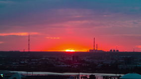 Timelapse Panoramic View Kazan City against Beautiful Sunset stock footage