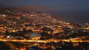 Timelapse panoramico aereo di vista di tramonto di Funchal stock footage