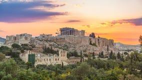 Timelapse of Parthenon, Acropolis of Athens, Greece at sunrise stock video