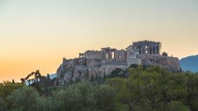 Timelapse of Parthenon, Acropolis of Athens, Greece at sunrise stock video footage