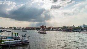 Timelapse of passing cloud and transportation in Chaopraya river stock video
