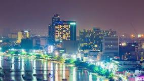 Timelapse of Pattaya city and many boats docking at night. Timelapse of Pattaya city and the many boats docking at night stock video