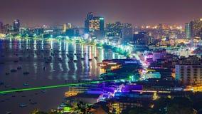 Timelapse of Pattaya city and many boats docking at night. Timelapse of Pattaya city and the many boats docking at night stock footage