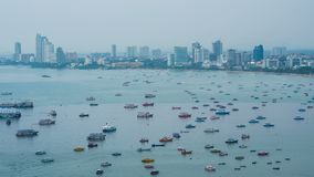 Timelapse of Pattaya city and many boats docking. Timelapse of Pattaya city and the many boats docking stock footage