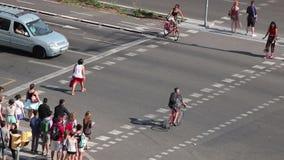 Timelapse of pedestrians in Barcelona. A timelapse with pedestrians and street traffic in Barcelona, Spain, July 2016 stock video