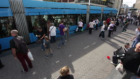 Timelapse of people at tram stop on Bana Jelacic square in Zagreb, Croatia stock footage