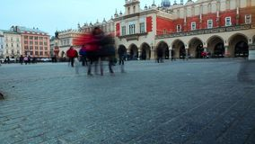 Timelapse of people walking in the center of Krakow in Poland stock footage