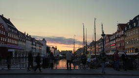 Timelapse of people at water-front in Copenhagen stock video footage