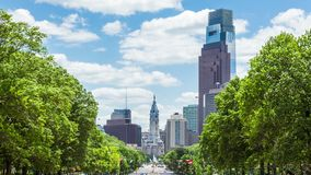 Timelapse of the philadelphia skyline - Pennsylvania USA. Timelapse of the philadelphia skyline  Pennsylvania USA stock video footage
