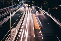 Timelapse Photo of Vehicles in Road during Night Time Royalty Free Stock Photos