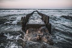 Timelapse Photography of Body of Water and Waves on Dike Stock Photos