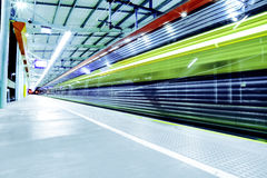 Timelapse Photography of Green Blue and Red Train Station Stock Photo
