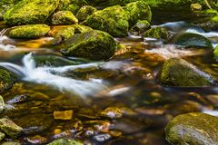 Timelapse Photography of River Flowing Through Moss-covered Rocks stock images