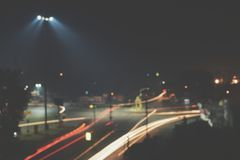 Timelapse Photography of Roadway With Car during Nighttime Royalty Free Stock Images