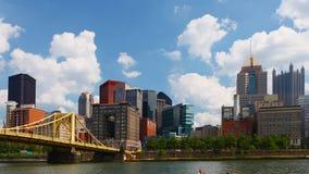 Timelapse Pittsburgh skyline by bridge 4K
