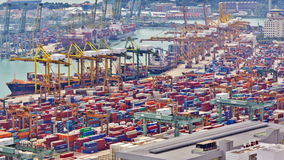 Timelapse of the port of Singapore stock footage