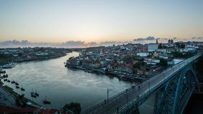 Timelapse of Porto skyline by the sunset. Skyline of Porto with famous Dom Luis Bridge, Portugal stock video footage