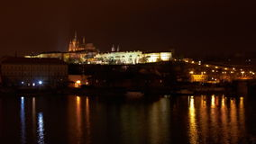 Timelapse of Prague castle. At night stock footage