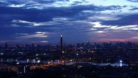 Timelapse Rama 8 Bridge, Skyscrapers in Bangkok City, Thailand.  stock footage