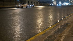 Timelapse. Rapid movement of cars on city streets. In evening time. Big wide road stock video