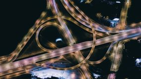 Night Drone Timelapse City Bridge Viaduct road traffic machine Drone fast time cars in motion. Timelapse Riga city drone flight above bridge with cars frafics stock video