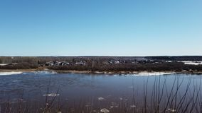 Timelapse river spring in ice ice drift sky clouds stock video footage