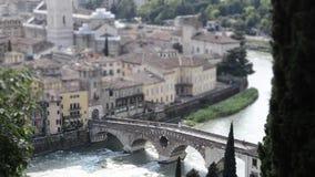 Timelapse at Roman Bridge called Ponte di Pietra, Verona, Italy stock video footage