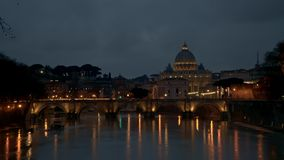 Timelapse of Rome, Vatican, St Peter Basilica and St Angelo Bridge crossing Tiber River in the city center of Rome Italy. Time-lapse of Rome, Vatican, St Peter stock footage