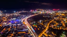 Pan shot timelapse rooftop view of Istanbul with traffic light at night. Timelapse rooftop view of Istanbul cityscape with skyscrapers and Golden horn at night stock video