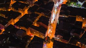 Timelapse rooftop view of Istanbul street with traffic at night. Timelapse rooftop view of Istanbul roofs at night stock video footage