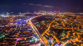 Timelapse rooftop view of Istanbul with traffic light at night. Timelapse rooftop view of Istanbul cityscape with skyscrapers and Golden horn at night stock footage