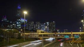 Timelapse ruch drogowy na Chicago I-90 zbiory