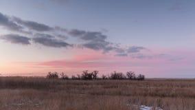 Timelapse Ryssland Rörelsen av molnen på solnedgången i den snöig stäppen i vinter lager videofilmer