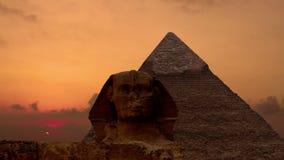 Timelapse Salida del sol sobre la pirámide de Cheops y de la esfinge Giza Egypt V 4 metrajes