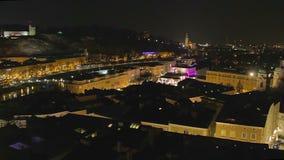 Timelapse of Salzburg, nightlife in big tourist city in Austria. Stock footage stock video