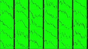 Timelapse screen. Fast time. Market technical analysis. Trading range. Grid 6x5. Candlestick chart. Green background. Fall markets. Business graph background stock illustration