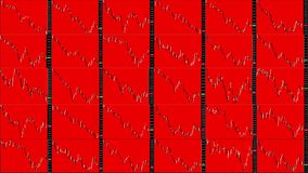 Timelapse screen. Slow time. Market technical analysis. Trading range. Grid 6x5. Candlestick chart. Red background. Fall markets. Business graph background stock illustration