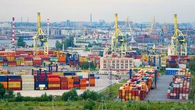 Timelapse of the sea port in St. Petersburg