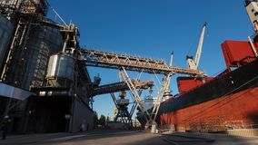 Timelapse of ship loading grain crops on bulk freighter via trunk to open cargo holds at silo terminal in seaport. Cereals bulk transshipment to vessel stock video footage